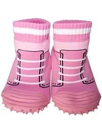 C2BB - Calcetines con suela antideslizante para niñas | Zapatillas de deporte rosa