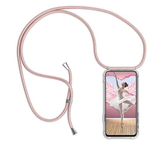 Handykette kompatibel mit Huawei P9 Lite Schutzhülle, Smartphone Necklace Hülle mit Band Handyhülle mit Kordel zum Umhängen, Transparent Weich TPU Silikon Case Stossfest - Rose Gold
