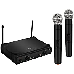 ELEGIANT Micrófono Inalámbrico Profesional Dual con Receptor Canal VHF Inteligente Reducción de Ruido Conexión 100 Metros para Bar Karaoke Concierto Reunión Fiesta Espectáculos Musicales