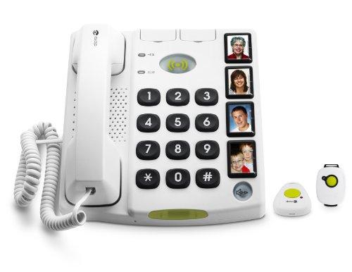 Doro Secure 347 Schnurgebundenes Großtastentelefon mit 4 Direktwahl-Fototasten inkl. 2 mobilen Notrufalarmgebern, weiß -