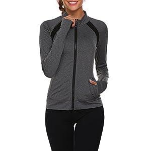 Parabler Laufjacke Damen Sportjacke Trainingsanzug mit Daumenloch und Seitentasche