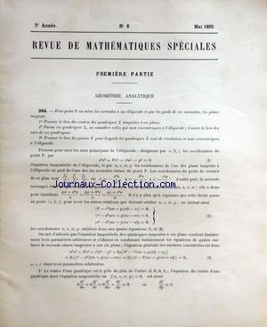 REVUE DE MATHEMATIQUES SPECIALES [No 8] du 01/05/1895 - GEOMETRIE ANALYTIQUE