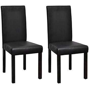 vidaxl 2 pz sedie classiche in legno e ecopelle nere per salotto ... - Sedie Da Soggiorno In Pelle 2