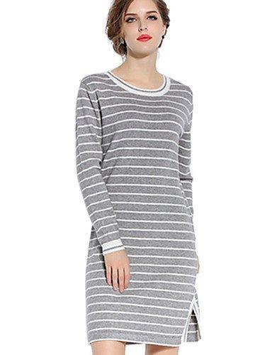 PU&PU Robe Aux femmes Gaine Simple / Bohème,Rayé Col en U Au dessus du genou Polyester WHITE-XL