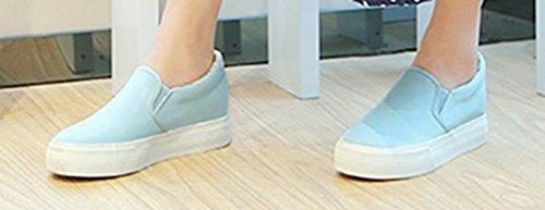 Aisun Damen Klassisch Erhöhte Canvas Flach Sneaker Schuhe Blau
