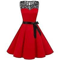 beautyjourney Vestido Retro para Mujer Hepburn Swing Vestido de Encaje sin Mangas de Gran tamaño Vestido de Noche Vestido Plisado de Cintura Alta Elegante Vestido de cóctel de una línea