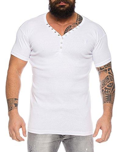 Herren feinripp T-Shirt mit Knopfleiste tiefer V-Ausschnitt Slimfit (Weiß, L) - Button-down V-neck T-shirt