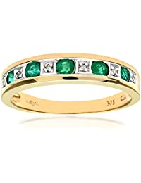 Revoni 9ct Yellow Gold Ladies Diamond and Emerald Ring