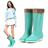 ZQDZYA Wellington Boots,Fashion Rain Boots Korean Summer High Rain Shoes Jelly Shoes Warm Plus Velvet Detachable Water Shoes Non-Slip New Rubber Shoes Jelly Green Pvc Women Wellington Boots