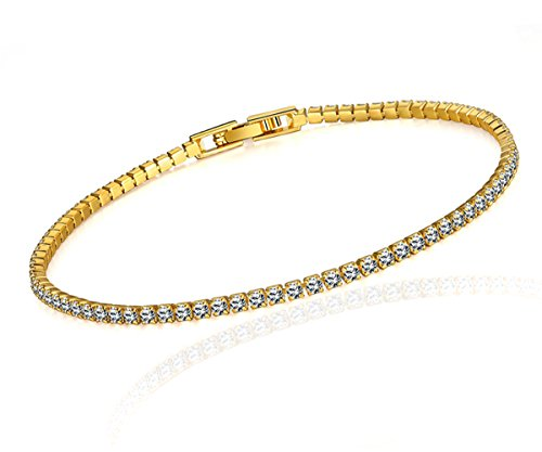 Damen Tennisarmbänder für Frauen Armkette Zirkonia Schmuck Armreif Weihnachtsgeschenk mit Gelbgold (Schmuck Billig Kostüm)