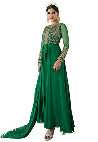 Anarkali ( Shoponbit New Style Green Color Royal Georgette Embroidered Semi Stitched Party Wear Anarkali Suit )