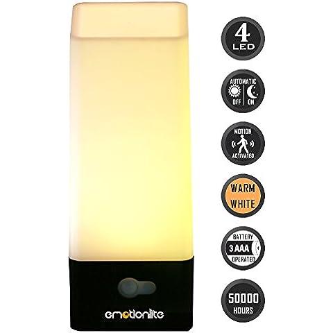 Emotionlite LED Sensor de Movimiento Luz de Noche Bateria Cargada Lámpara de Mesa Inalámbrico Los Niños Lámpara de Noche párr La Habitación de los Niños, el baño, El Pasillo, La Escalera, El Corredor, El Armario o Cualquier Habitación oScura. Blanco Cálido,
