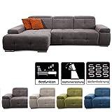 CAVADORE Schlafsofa Mistrel mit Longchair XL links / Große Eck-Couch im modernen Design / Mit Bettfunktion / Inkl. verstellbare Kopfteile / Wellenunterfederung /  273 x 77 x 173 cm(B x H x...