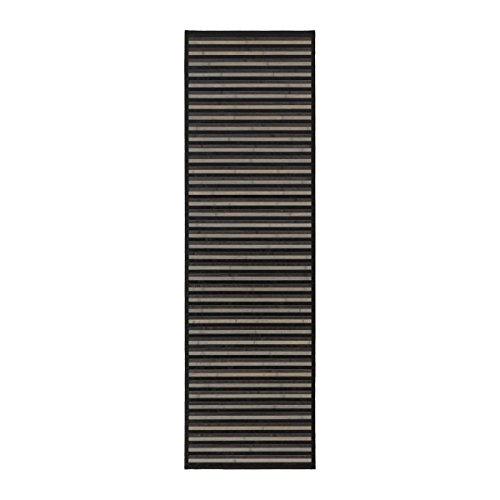 Alfombra pasillera moderna negra de bambú para pasillo de 60 x 200 cm Factory - Lola Home