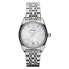 Idea Regalo - Emporio Armani AR0379 - Orologio da polso donna, acciaio inox, colore: argento