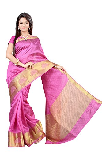 MIMOSA Women's Tassar Silk Saree with Blouse Piece (2060-Tuss-Pink,Pink,Free Size)