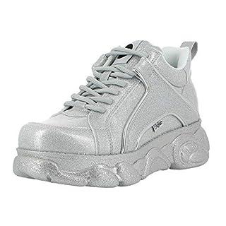 Buffalo Corin Damen Sneaker,Low-Top Sneaker,Halbschuh,Sportschuh,Schnürschuh,Silver,39 EU