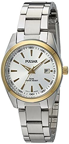 Pulsar Quartz Stainless Steel Dress Watch, Color:Silver-Toned (Model: