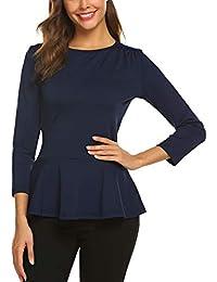 Finejo Damen Elegant Langarmshirt mit Rüschen Blusen V-Ausschnitt T-Shirt  Casual Loose Fit be24caeb26