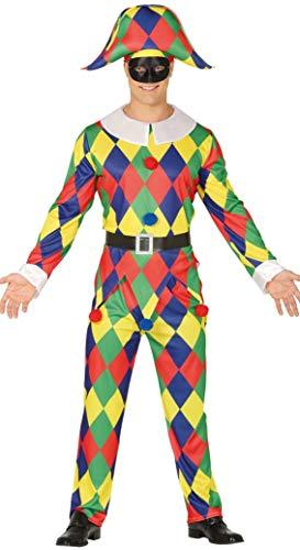 Fiestas Guirca Harlekin Mann - Für Erwachsenen Satin Narr Kostüm