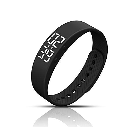 All Cart LED Schrittzähler Armband Fitnessarmband Timer Ohne Bluetooth mit Uhr / Kalorienzähler / Schlafüberwachung / Entfernung / Zeit / Daten Ohne APP für Outdoor (Schwarz)