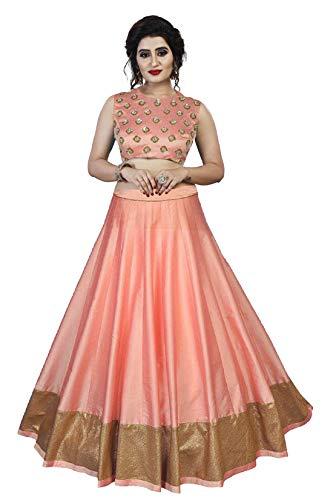 Orangesell Women`s Banglori satin semi stitch lehenga choli (Pink_Free Size)