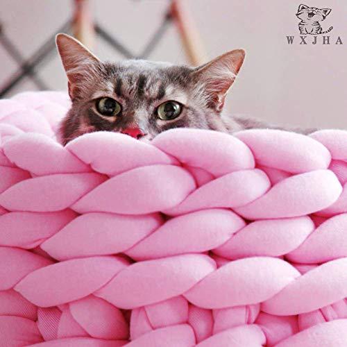 Haustierbett Hund, Katze handgefertigt 100% Baumwolle Dickes Seil geflochtene Baumwolle Zwinger Nest - weiches Kissen schlafen Nest, Wolle Stricken Puppy Cave Bed Sofa,Pink,40CM -