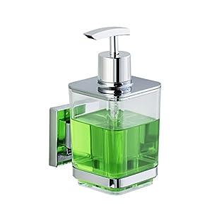 Wenko Vacuum-Loc Seifenspender Quadro Flüssigseifen-Spender Fassungsvermögen 0.33 L Edelstahl rostfrei Glänzend 10 x 7,5 x 16 cm