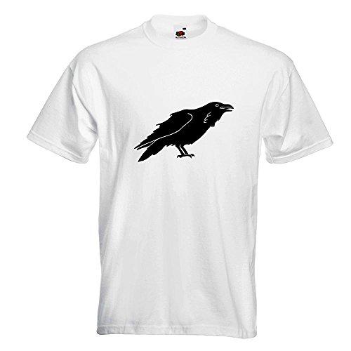 KIWISTAR - Rabe Krähen Corvus T-Shirt in 15 verschiedenen Farben - Herren Funshirt bedruckt Design Sprüche Spruch Motive Oberteil Baumwolle Print Größe S M L XL XXL Weiß
