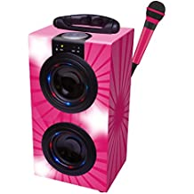 Lexibook - Altavoz portátil de karaoke con Bluetooth y micrófono, color rosa (BT600PKZ)