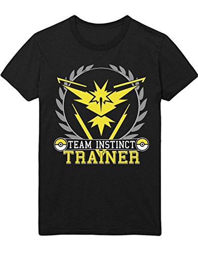 T-Shirt Poke Go Team Instinct Club Catch 'Em All Hype Kanto X Y Blue Red Yellow Plus Hype Nerd Game C980105 Schwarz XXXL