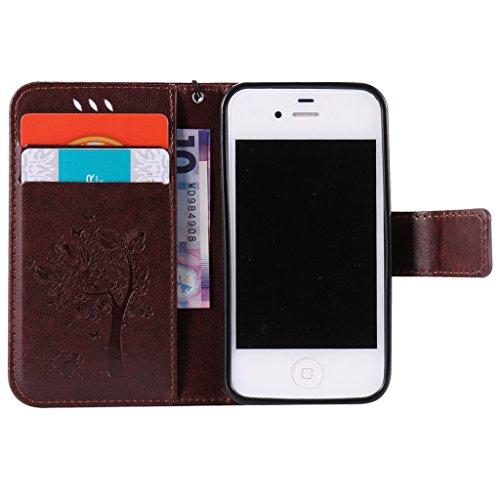iPhone 4 / 4S Coque, MYTHOLLOGY Rétro PU Cuir Case avec Support [Antichoc Coque] Portefeuille Étui à rabat Housse pour iPhone 4 / iPhone 4S - Gris Marron