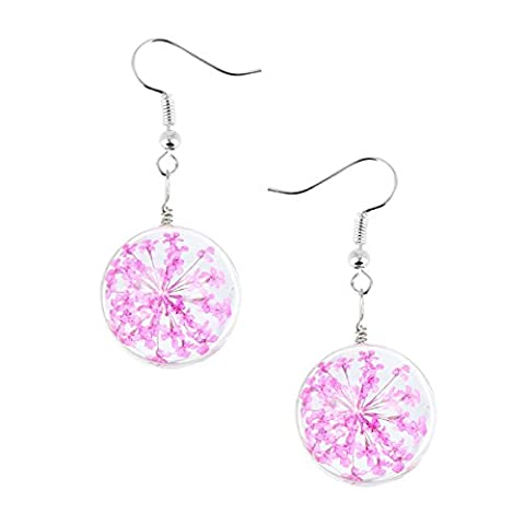 Mixe Time Gem Jewelry Women Ladies New Charming Dried Flower Crystal Glass Ball Pandent Earrings Gift 20mm