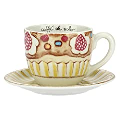 Idea Regalo - THUN ® - Tazza Grande Linea New Sweet Cake per tè, caffè, tisana - Porcellana - 500 ml - Ø 9,5 cm