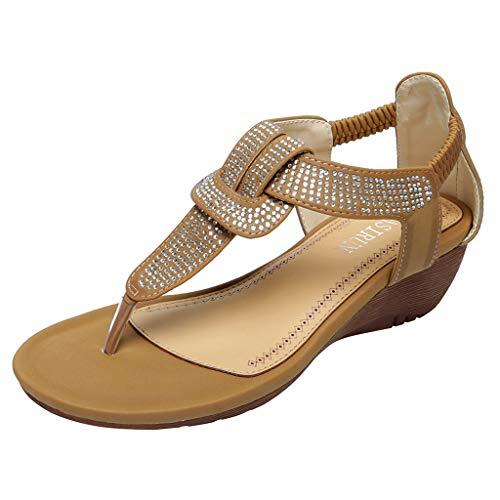 Frauen Keil Sandalen T-Riemen Tanga Plateauschuhe Elastische Knöchelriemen Böhmen Sommer Flip Flop Mode Strass Perlen Strand Schuhe Niedrigen Absatz Sandale