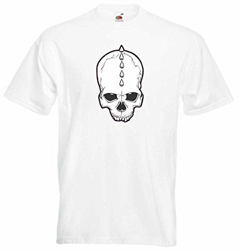 T-Shirt D794 T-Shirt Herren schwarz mit farbigem Brustaufdruck - Design Tribal Comic / abstrakte Grafik / Schädel Totenkopf Punk mit Irokese Mehrfarbig