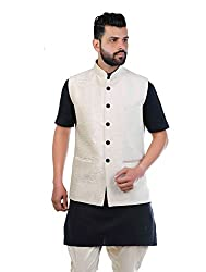 Veera Paridhaan Solid BeigeParty wear Nehru Jacket(VP00705244)