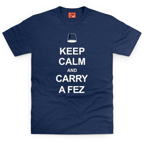 Keep Calm & Carry A Fez T-Shirt, Herren Dunkelblau