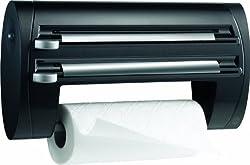 Emsa 509247 3-fach-Schneidabroller für Folie und Küchenrolle, Extralange Rollen, Schwarz, Superline