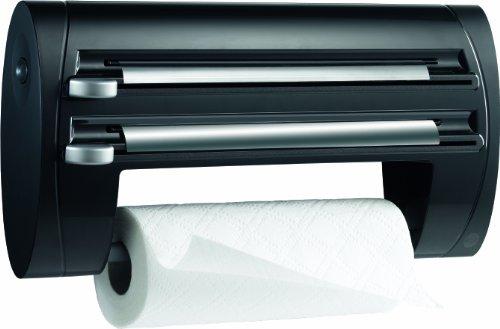Emsa 509247 Dérouleur triple, coupe-film, papier d'aluminium et film alimentaire, 40 cm, noir, Superline