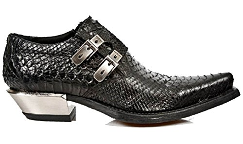 Scarpa Heel Argento Style / Cuban Style Nero Rock Nero con fibbie laterali Stampa nera serpente