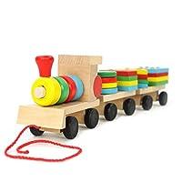 Small Wooden Train And Dragging Three Geometric Shape Bricks Educational Kids Toy