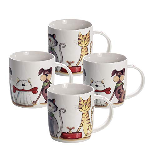 Set de 4 tazas desayuno originales de café té con decoración de perros y gatos apto para lavavajillas y microondas, regalo para los amantes de los animales perro de gato – Set 4 New Bone China Mugs Cat and Dog Design Gift for Animal Lovers