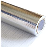 dooxoo 44?X 200?Cm K ¨ ¹ Che PVC aluminio protector de pantalla Self adhensive mosaico Pegatinas?L Papel Pintado Pared Pegatinas cuarto de baño espejo resistente al agua pared adhesivo, pvc, hell silberfarben, medium