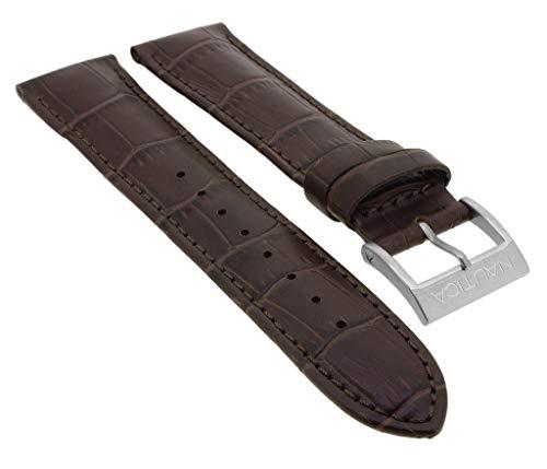 Nautica Ersatzband Uhrenarmband 22mm | Leder Band braun mit Krokoprägung für NAI19503G