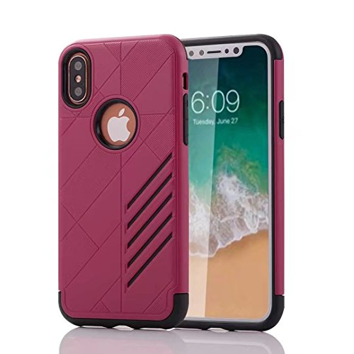 iPhone X Armor Cover, Super Cool Hybrid Tangram Diagonal Holdes Style Slim Armour Custodia, TAITOU Fashion Ultralight Thin Phone Cover For Apple iPhone X Golden BRed