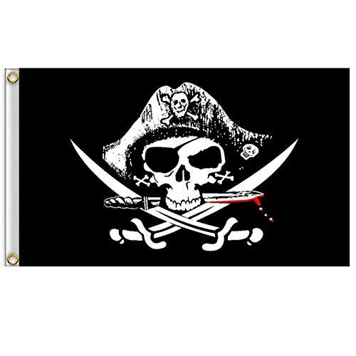 Vlalin Piraten-Flagge, 1 2 x 3 Stück, 60 x 90 cm, Totenkopf und gekreuzte Knochen Jolly Roger Flagge für den Außenbereich CrossKnife Flag -