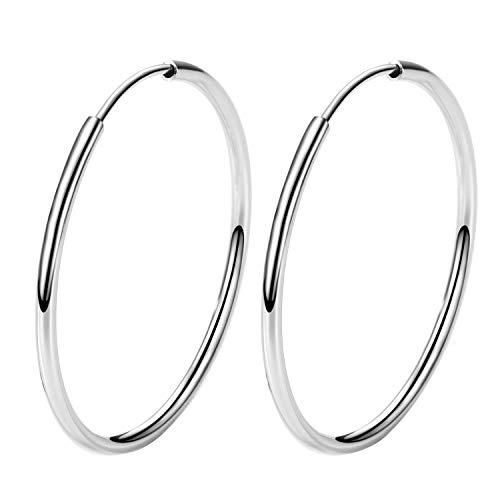 T400 Creolen Silber 925 Ohrringe Damen Groß Runde Kreolen Ohrschmuck für Frauen Freundin Mädchen