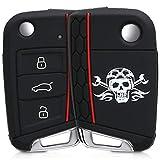 kwmobile Funda para Llave de 3 Botones para Coche VW Golf 7 MK7 - Carcasa Protectora [Suave] de [Silicona] - Case de Mando de Auto con diseño de Calavera