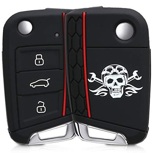 kwmobile Autoschlüssel Hülle für VW Golf 7 MK7 - Silikon Schutzhülle Schlüsselhülle Cover für VW Golf 7 MK7 3-Tasten Autoschlüssel Schwarz Weiß Schwarz -